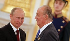 Putin meets King Juan Carlos in Russia