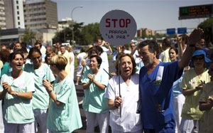 Public health protest in Madrid last month